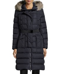 Moncler Khloe Quilted Puffer Coat W Fur Hood Navy