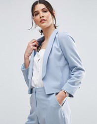Asos Crop Tailored Blazer In Crepe With Collar Detail Ice Blue