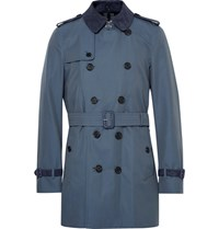 Burberry Kensington Mid Length Suede Trimmed Cotton Gabardine Trench Coat Storm Blue