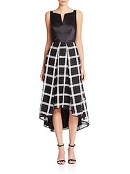 Milly Adalyn Hi Lo Check Combo Dress Black White