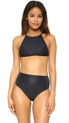 Salinas Solids High Neck Mesh Top Black