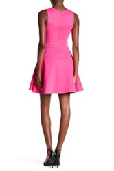 Love Ady Scalloped V Neck Mini Fit And Flare Dress Pink
