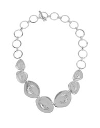 Robert Lee Morris Set Sail Hammered Texture Silverplated Sculptural Oval Circle Link Toggle Necklace