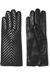 Portolano Quilted Leather Gloves Black