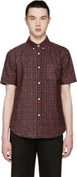 Band Of Outsiders Red Printed Short Sleeve Shirt