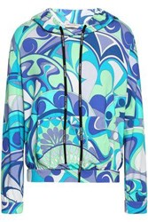 Emilio Pucci Printed Stretch Jersey Hoodie Turquoise