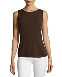 Lafayette 148 New York Scoop Neck Sleeveless Shell Espresso