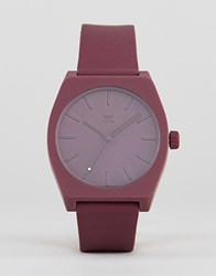 Adidas Z10 Process Silicone Watch In Burgundy Red