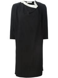 Bouchra Jarrar Draped Neck Shift Dress Black