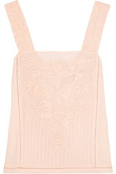 Loveshackfancy Paola Mesh Paneled Embroidered Cotton Top Peach