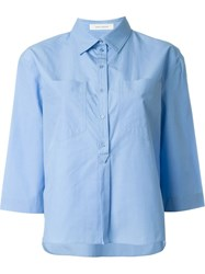 Cedric Charlier 3 4 Sleeves Semi Cutaway Neck Shirt Blue