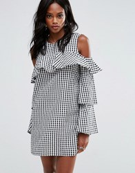 Missguided Layered Frill Gingham Cold Shoulder Dress Black