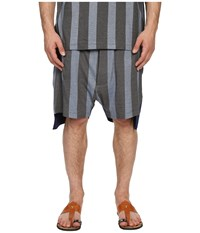 Vivienne Westwood Printed Stripe Jersey Twist Seam Shorts Blue Stripe