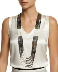 Brunello Cucinelli Multi Strand Beaded Long Necklace Black Taupe White Black Green White