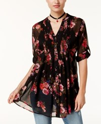 American Rag Juniors' Printed Pintucked Blouse Created For Macy's Classic Black