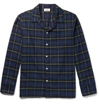 Sleepy Jones Seepy Henry Checked Cotton Fanne Pyjama Shirt Navy