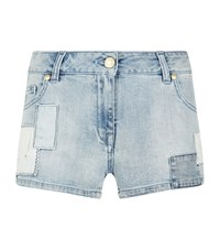 Balmain Pierre Patched Denim Shorts Female Blue