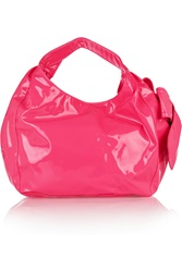 Valentino Bow Embellished Neon Patent Leather Tote Pink