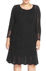 Plus Size Women's London Times Crochet A Line Dress