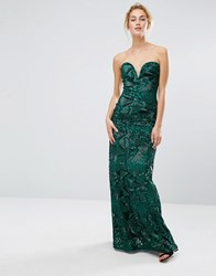 Tfnc Bandeau Maxi Dress In Patterned Sequin Green