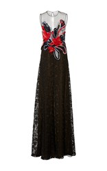 Naeem Khan Sleeveless Chiffon Applique And Lace Gown Multi