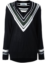 Victoria Beckham Striped V Neck Jumper Black