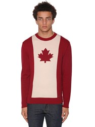 Dsquared Wool Blend Jacquard Crewneck Sweater Red Offwhite