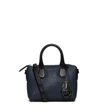 Michael Kors Campbell Extra Small Two Tone Leather Satchel Navy