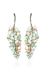 Nak Armstrong Bahia Banana Leaf Earrings In Blue Peruvian Opal And Tourmalines