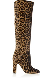Brian Atwood Renee Leopard Print Calf Hair Knee Boots