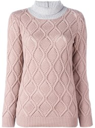 Agnona Cashmere Bicolour Turtleneck Pullover Pink Purple