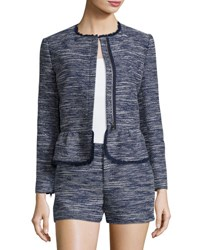 Joie Milligan Tweed Zip Front Jacket Blue