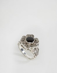 Liars And Lovers Black Marcasitie Stone Ring Gold
