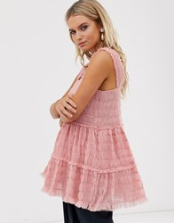 Sister Jane Cami Top In Shirred Tulle Pink