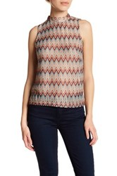 Glamorous Chevron Knit Mock Neck Sleeveless Blouse Blue