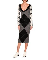 Stella Mccartney Long Sleeve Argyle Knit Sweaterdress Gray Pattern