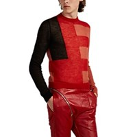 Rick Owens Colorblocked Mohair Blend Crewneck Sweater Red