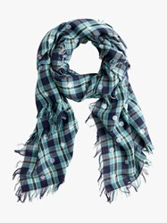 J.Crew Jaqueline Wool Rich Dot Check Scarf Navy Plaid