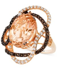Le Vian Crazies Collection Morganite White Topaz And Smoky Quartz 8 1 4 Ct. T.W. Ring In 14K Rose Gold