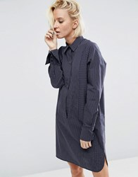 Asos Cotton Shirt Dress With Oversized Cuff In Pinstripe Navy Multi