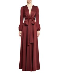 Jill Stuart Floor Length Long Sleeve Gown Brown