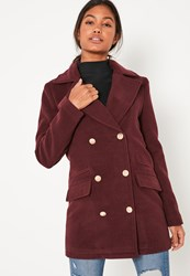 Missguided Burgundy Short Faux Wool Military Coat Chocolate