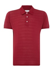 Peter Werth Literacy Textured Stripe Jersey Polo Crimson