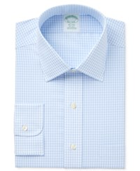 Brooks Brothers Men's Milano Extra Slim Fit Non Iron Light Blue Checked Dress Shirt