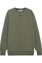 Off White Distressed Washed Cotton Jersey Sweatshirt Army Green