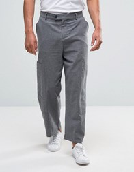 Asos Wide Leg Cropped Smart Cargo Trousers In Charcoal Charcoal Grey