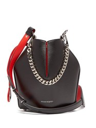 Alexander Mcqueen Geometric Leather Bucket Bag Black Red