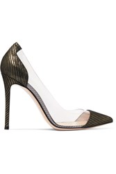 Gianvito Rossi Metallic Striped Suede And Pvc Pumps Black