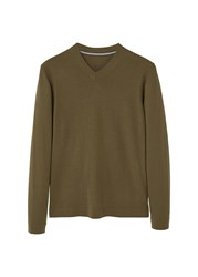 Mango Men's V Neck Wool Sweater Green