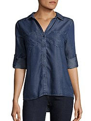 Saks Fifth Avenue Red Rolled Tab Sleeve Shirt Cobalt